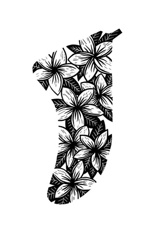 "Image of 20"" x 30"" Frangipani Flowers Fin Giclée Surf Art Print - Limited Edition 50"