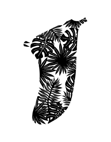 "11"" x 14"" Tropical Leaves Fin Giclée Surf Art Print - Limited Edition 50"