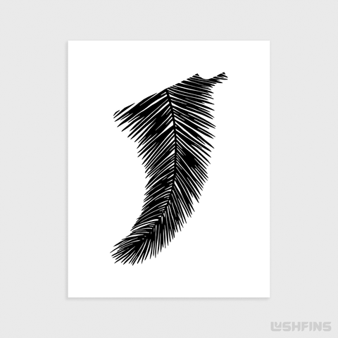 "Image of 11"" x 14"" Palm Leaf Fin Giclée Surf Art Print - Limited Edition 50"