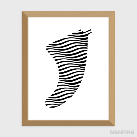 "Image of 11"" x 14"" Swell Illusion Fin Giclée Surf Art Print - Limited Edition 50"