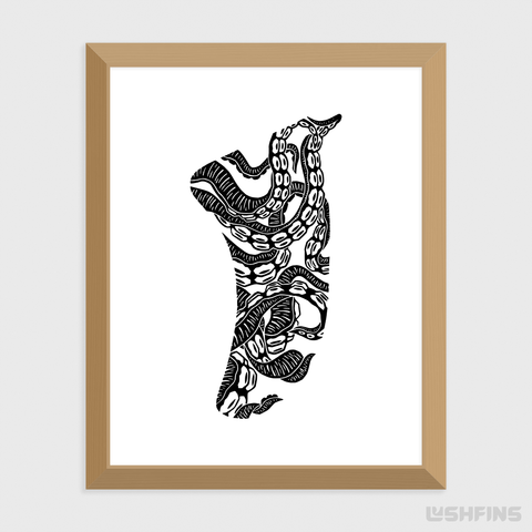"Image of 11"" x 14"" Twisted Tentacles Fin Giclée Surf Art Print - Limited Edition 50"