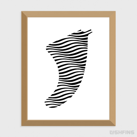 "Image of 16"" x 20"" Swell Illusion Fin Giclée Surf Art Print - Limited Edition 50"