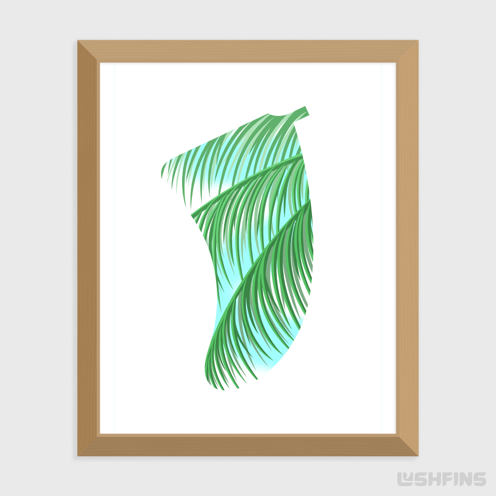 "16"" x 20"" Three Palms Fin Giclée Surf Art Print - Limited Edition 50"
