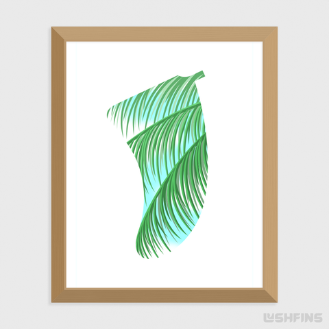"Image of 16"" x 20"" Three Palms Fin Giclée Surf Art Print - Limited Edition 50"