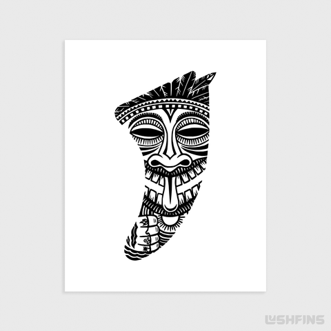 "Image of 16"" x 20"" Tiki Idol Fin Giclée Surf Art Print - Limited Edition 50"