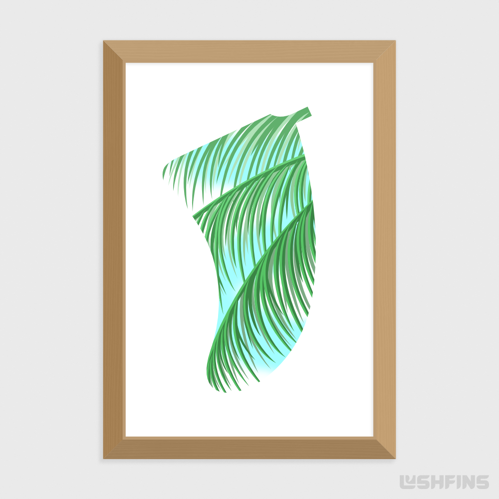 "20"" x 30"" Three Palms Fin Giclée Surf Art Print - Limited Edition 50"
