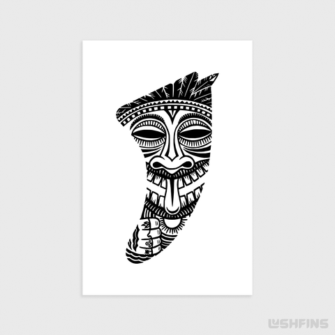 "Image of 20"" x 30"" Tiki Idol Fin Giclée Surf Art Print - Limited Edition 50"