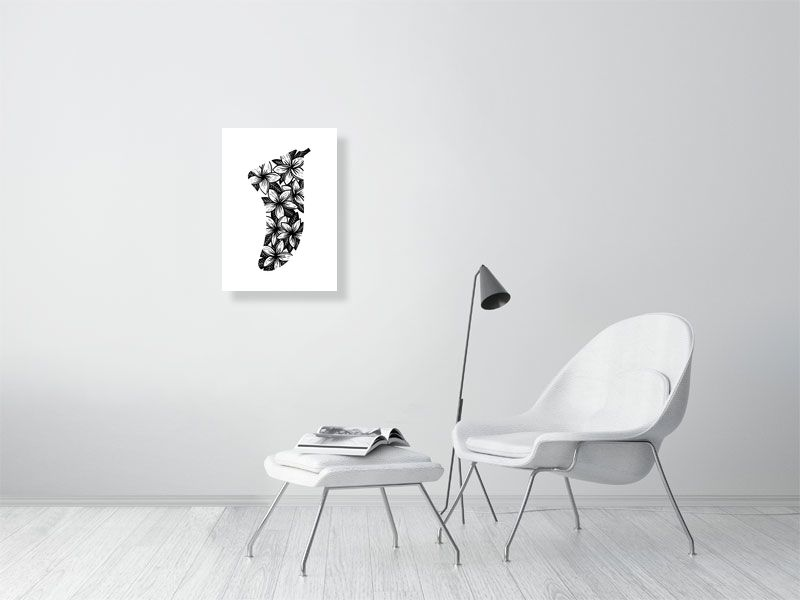 A2 Frangipani Flowers Fin Giclée Surf Art Print - Limited Edition 50