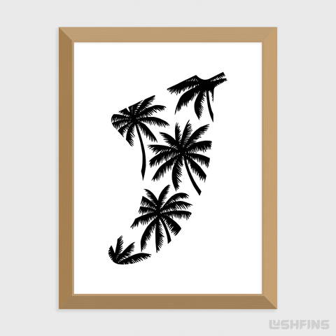 "Image of 30"" x 40"" Palm Tree Fin Giclée Surf Art Print - Limited Edition 50"