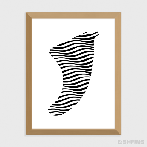 "Image of 30"" x 40"" Swell Illusion Fin Giclée Surf Art Print - Limited Edition 50"