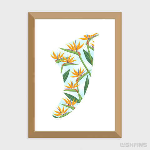 "Image of 5"" x 7"" Bird of Paradise Fin Giclée Surf Art Print - Limited Edition 50"