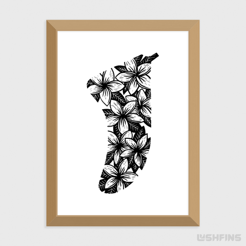 "Image of 5"" x 7"" Frangipani Flowers Fin Giclée Surf Art Print - Limited Edition 50"