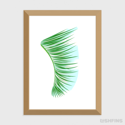 "5"" x 7"" Green Palm Fronds Fin Giclée Surf Art Print - Limited Edition 50"