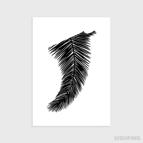 "Image of 5"" x 7"" Palm Leaf Fin Giclée Surf Art Print - Limited Edition 50"