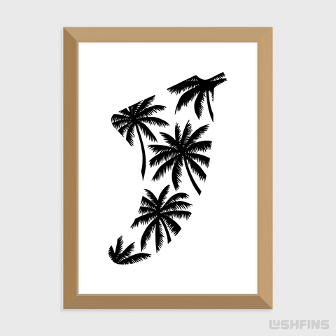 "5"" x 7"" Palm Tree Fin Giclée Surf Art Print - Limited Edition 50"