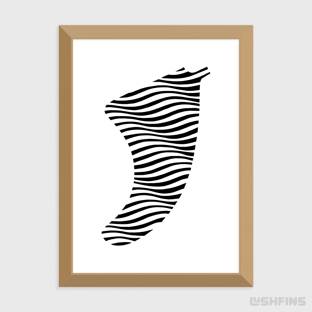 "5"" x 7"" Swell Illusion Fin Giclée Surf Art Print - Limited Edition 50"