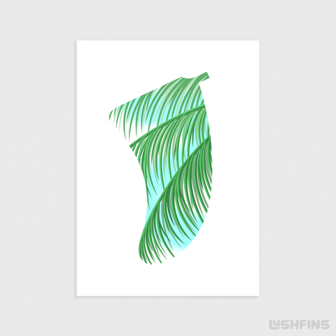 "5"" x 7"" Three Palms Fin Giclée Surf Art Print - Limited Edition 50"