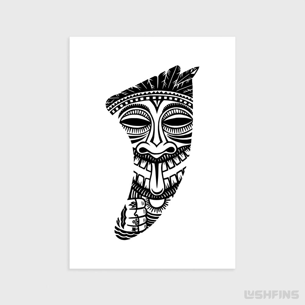 "5"" x 7"" Tiki Idol Fin Giclée Surf Art Print - Limited Edition 50"