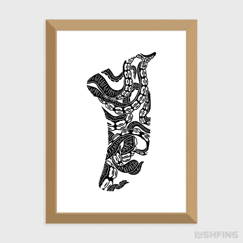 "5"" x 7"" Twisted Tentacles Fin Giclée Surf Art Print - Limited Edition 50"