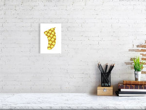 A5 Pineapple Sunrise Fin Giclée Surf Art Print - Limited Edition 50
