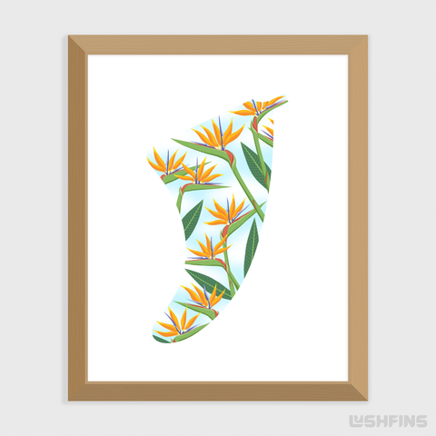 "Image of 8"" x 10"" Bird of Paradise Fin Giclée Surf Art Print - Limited Edition 50"