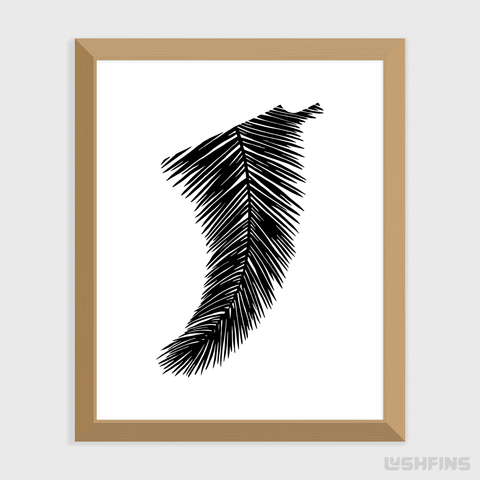"Image of 8"" x 10"" Palm Leaf Fin Giclée Surf Art Print - Limited Edition 50"