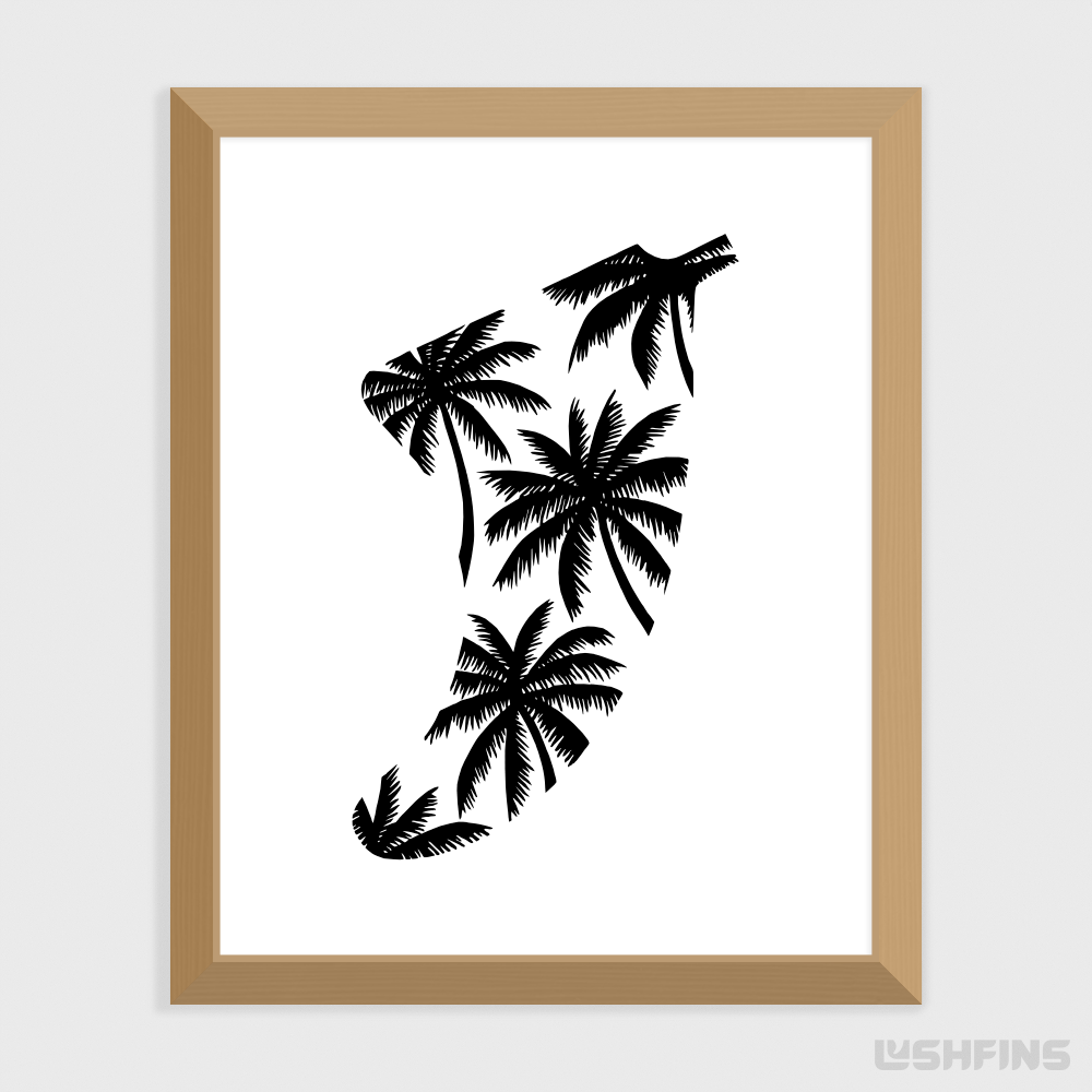 "8"" x 10"" Palm Tree Fin Giclée Surf Art Print - Limited Edition 50"