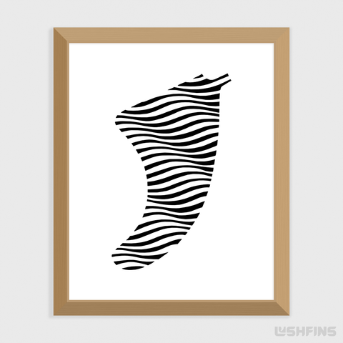 "Image of 8"" x 10"" Swell Illusion Fin Giclée Surf Art Print - Limited Edition 50"