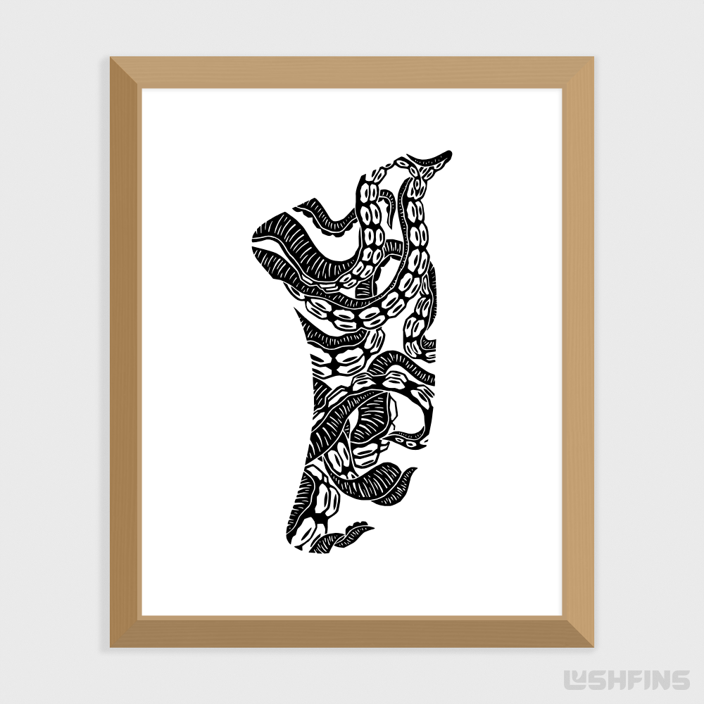 "8"" x 10"" Twisted Tentacles Fin Giclée Surf Art Print - Limited Edition 50"