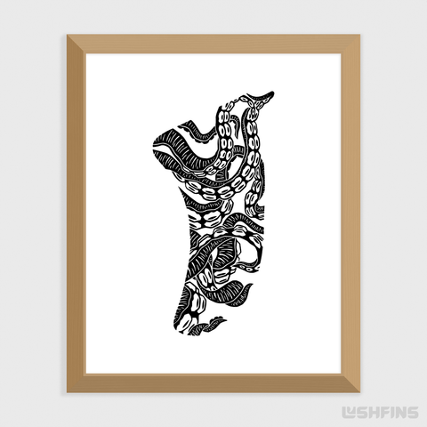 "Image of 8"" x 10"" Twisted Tentacles Fin Giclée Surf Art Print - Limited Edition 50"