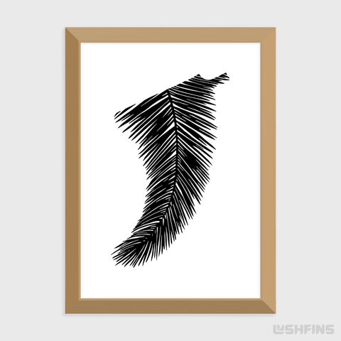Image of A4 Palm Leaf Fin Giclée Surf Art Print - Limited Edition 50