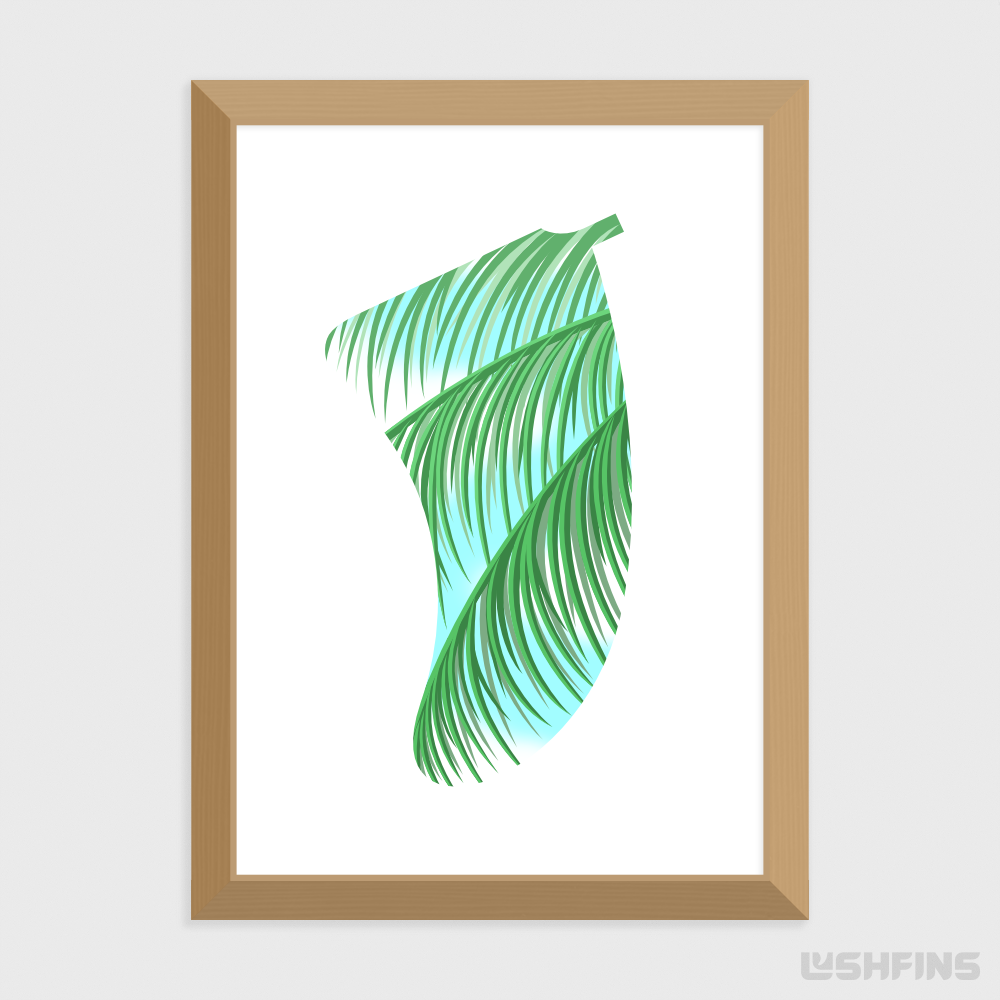 A4 Three Palms Fin Giclée Surf Art Print - Limited Edition 50