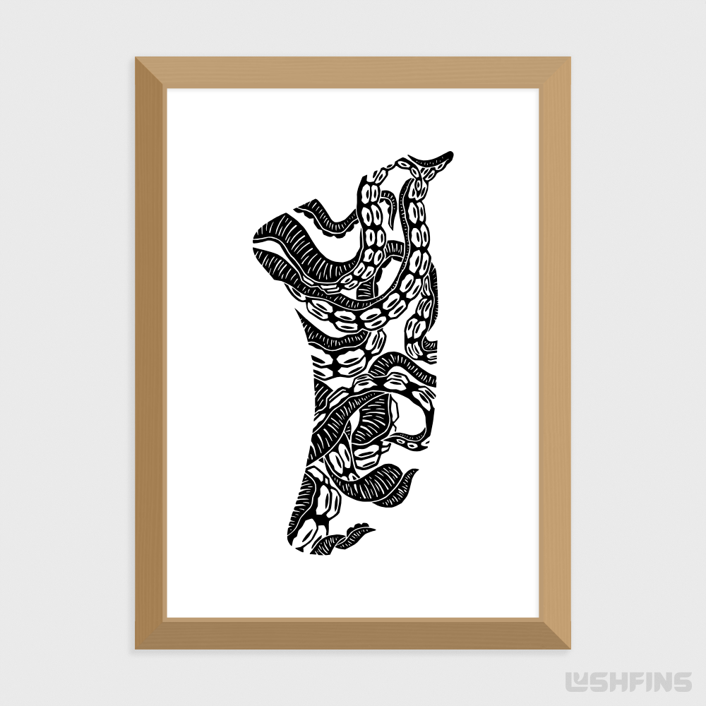 A4 Twisted Tentacles Fin Giclée Surf Art Print - Limited Edition 50