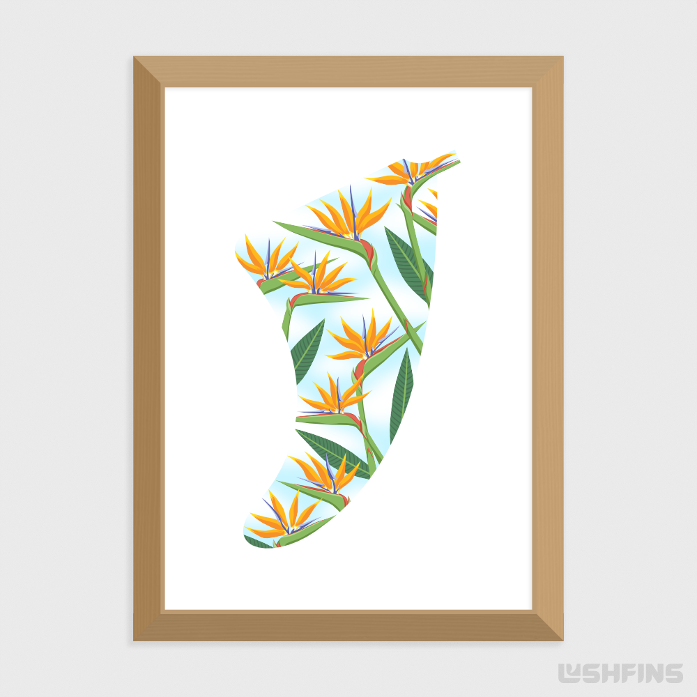 A5 Bird of Paradise Fin Giclée Surf Art Print - Limited Edition 50