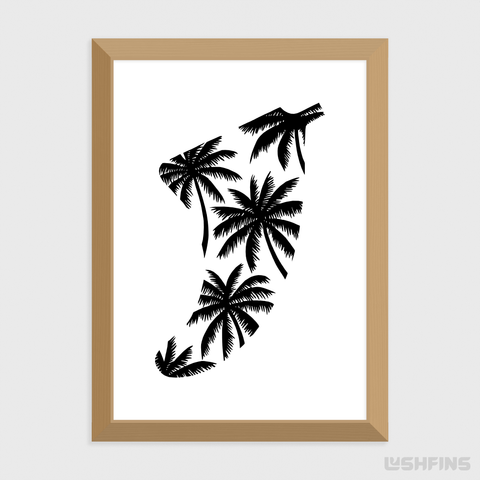 A5 Palm Tree Fin Giclée Surf Art Print - Limited Edition 50