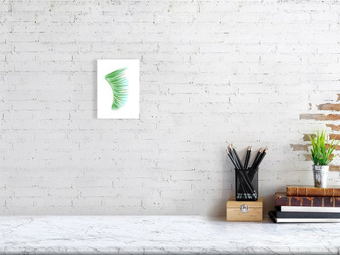 "Image of 5"" x 7"" Green Palm Fronds Fin Giclée Surf Art Print - Limited Edition 50"