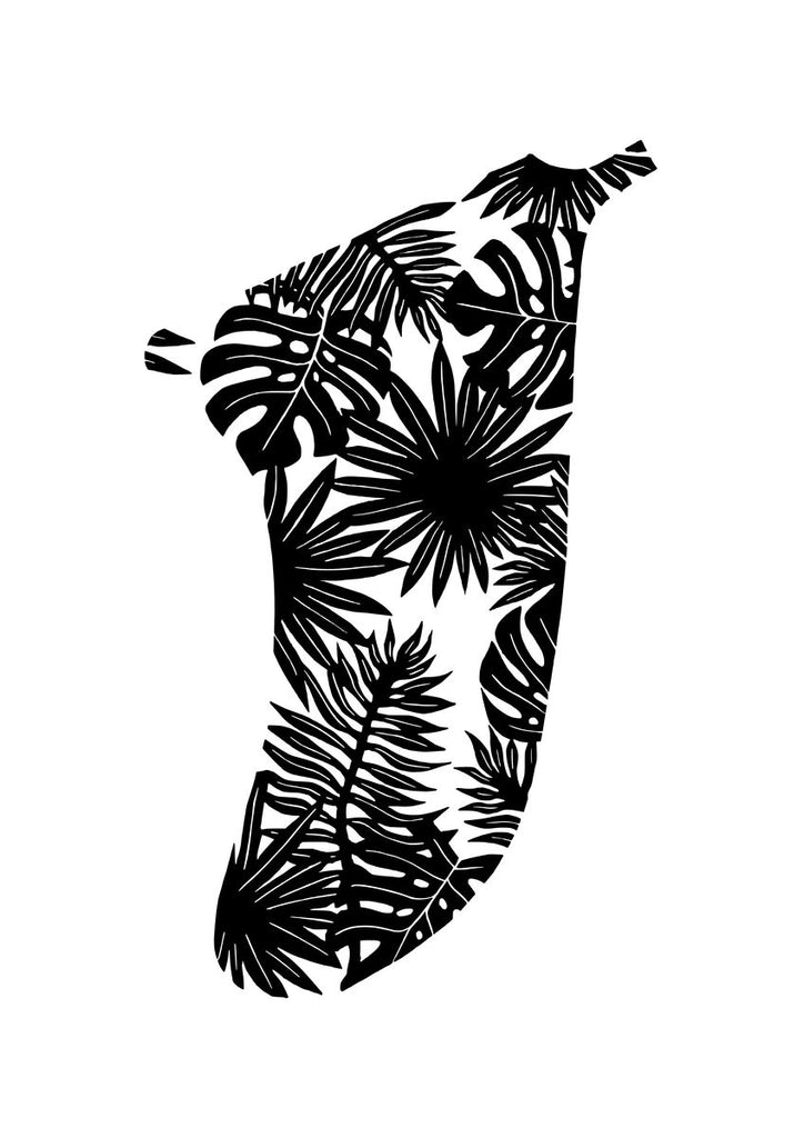 A3 Tropical Leaves Fin Giclée Surf Art Print - Limited Edition 50