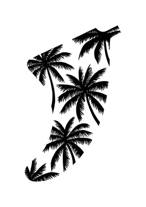 A4 Palm Tree Fin Giclée Surf Art Print - Limited Edition 50