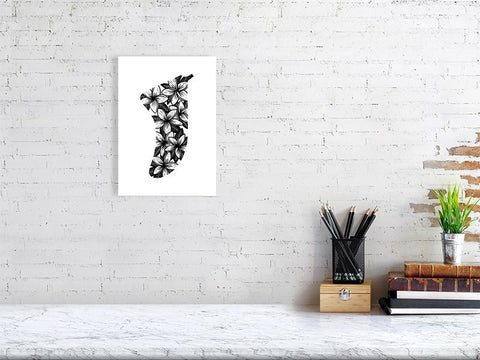 A4 Frangipani Flowers Fin Giclée Surf Art Print - Limited Edition 50