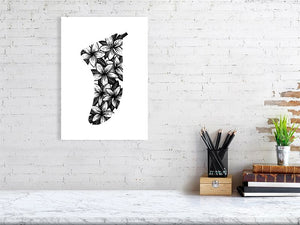 A3 Frangipani Flowers Fin Giclée Surf Art Print - Limited Edition 50