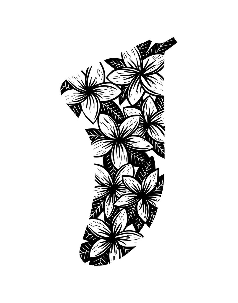 "11"" x 14"" Frangipani Flowers Fin Giclée Surf Art Print - Limited Edition 50"