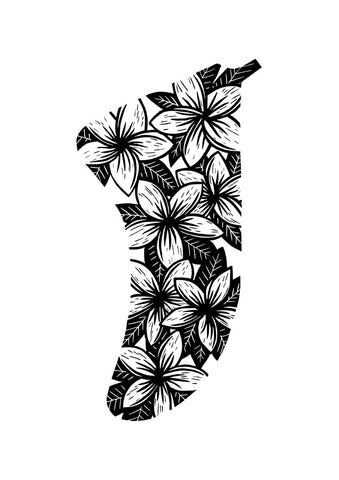 Image of A3 Frangipani Flowers Fin Giclée Surf Art Print - Limited Edition 50