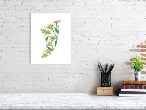 "Image of 11"" x 14"" Bird of Paradise Fin Giclée Surf Art Print - Limited Edition 50"