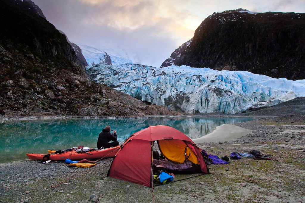 Bernal glacier, camping, sea kayak, adventure, patagonia