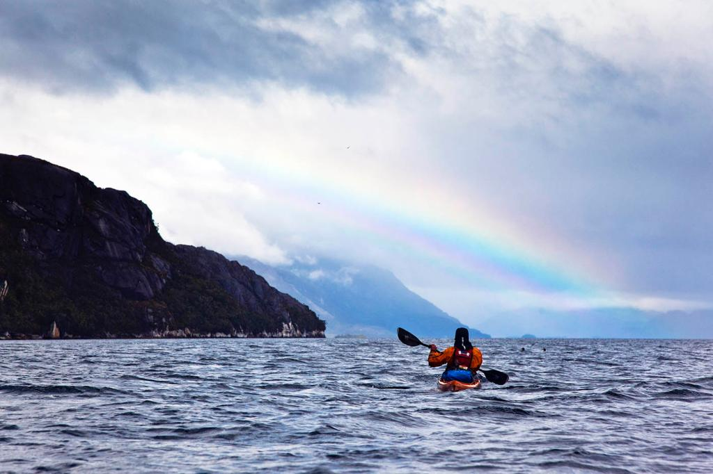 chasing rainbows, sea kayak, adventure, patagonia, photography