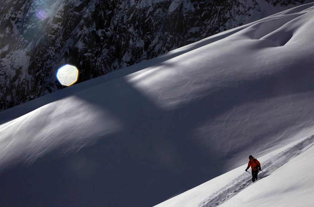 deep skiing, mont blanc massif, snow, mountains, photography