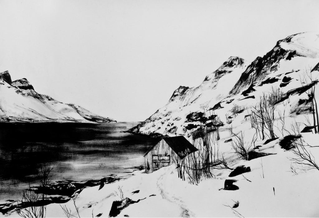 lakeside cabin, winter, norway, art