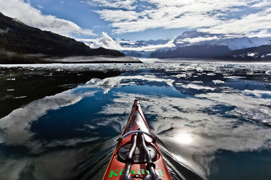 Peel fjord, reflection, sea kayak, adventure, patagonia, photography