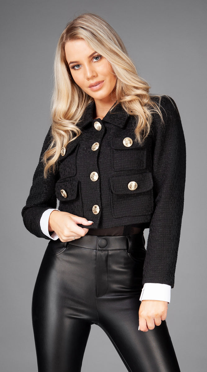 Luxy Cropped Bentley Blazer - Black