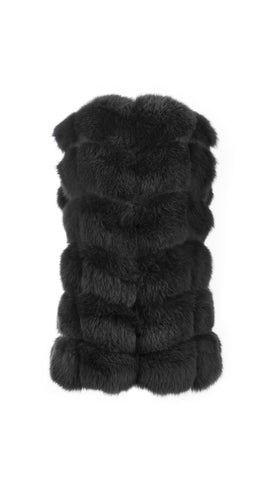 Luxy Fox Fur Gilet - Black